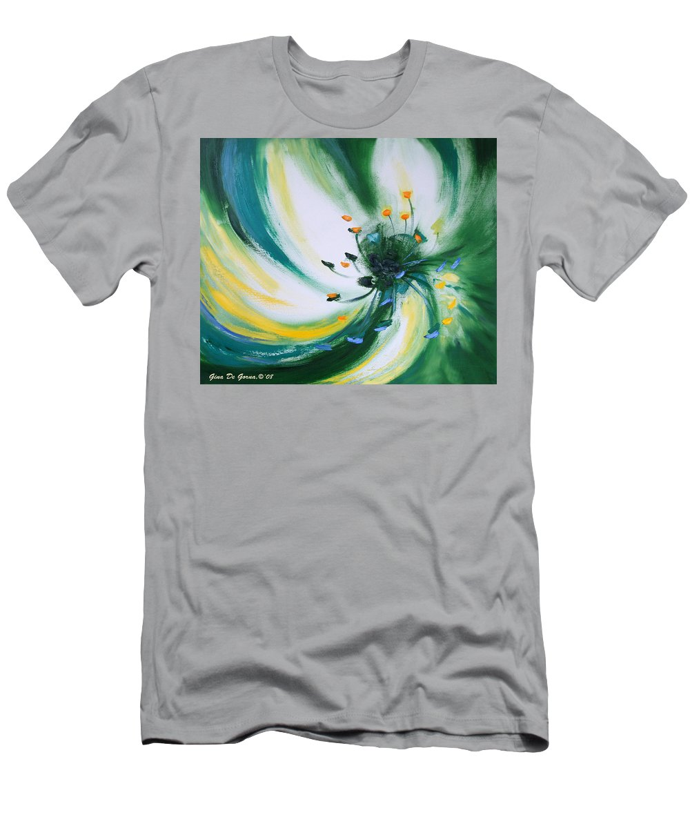 Green Men's T-Shirt (Athletic Fit) featuring the painting From The Heart Of A Flower Green by Gina De Gorna