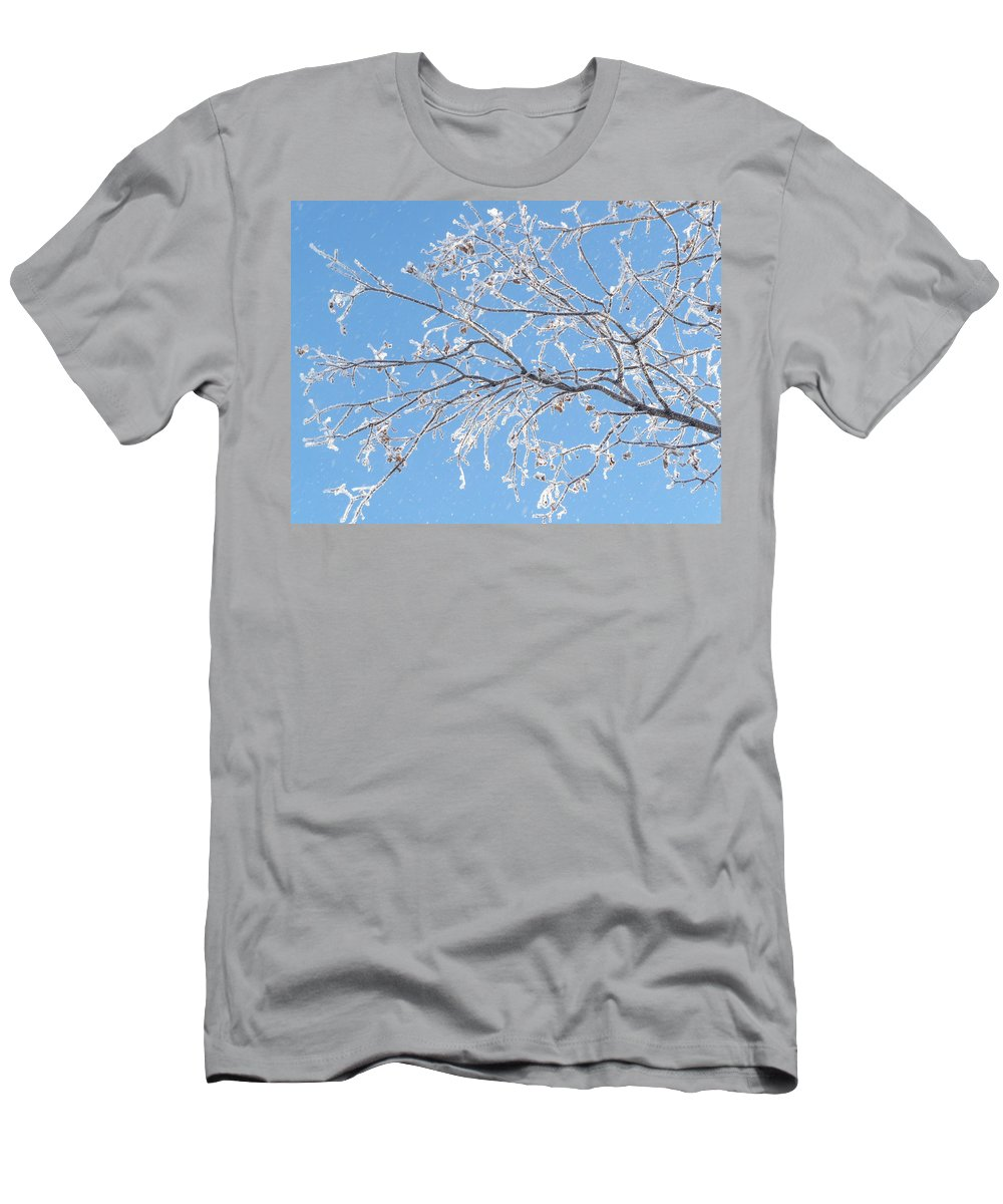 Hoar Frost Men's T-Shirt (Athletic Fit) featuring the photograph Frosty Branch by Ruth Kamenev
