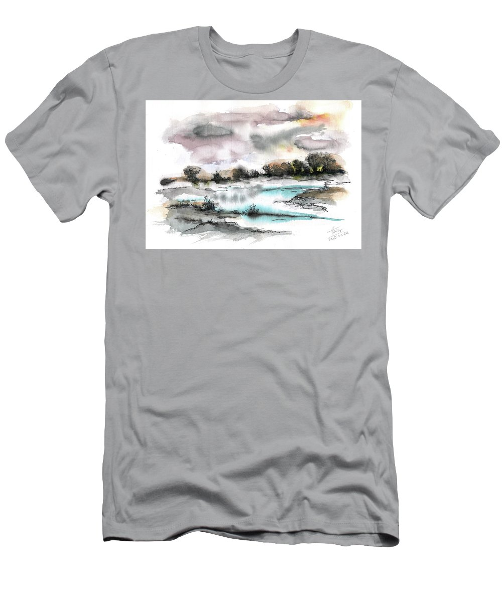 Abstract Landscape Men's T-Shirt (Athletic Fit) featuring the painting Frozen River by Aniko Hencz