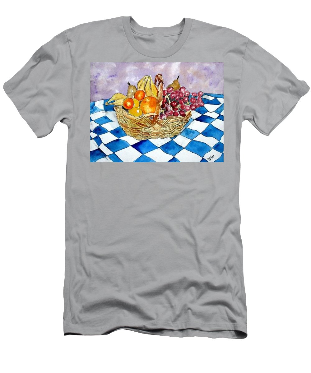 Fruit Basket Men's T-Shirt (Athletic Fit) featuring the painting Fruit Basket Still Life 2 Painting by Derek Mccrea