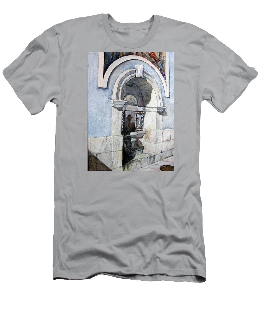 Fuente T-Shirt featuring the painting Fuente Castro Urdiales by Tomas Castano