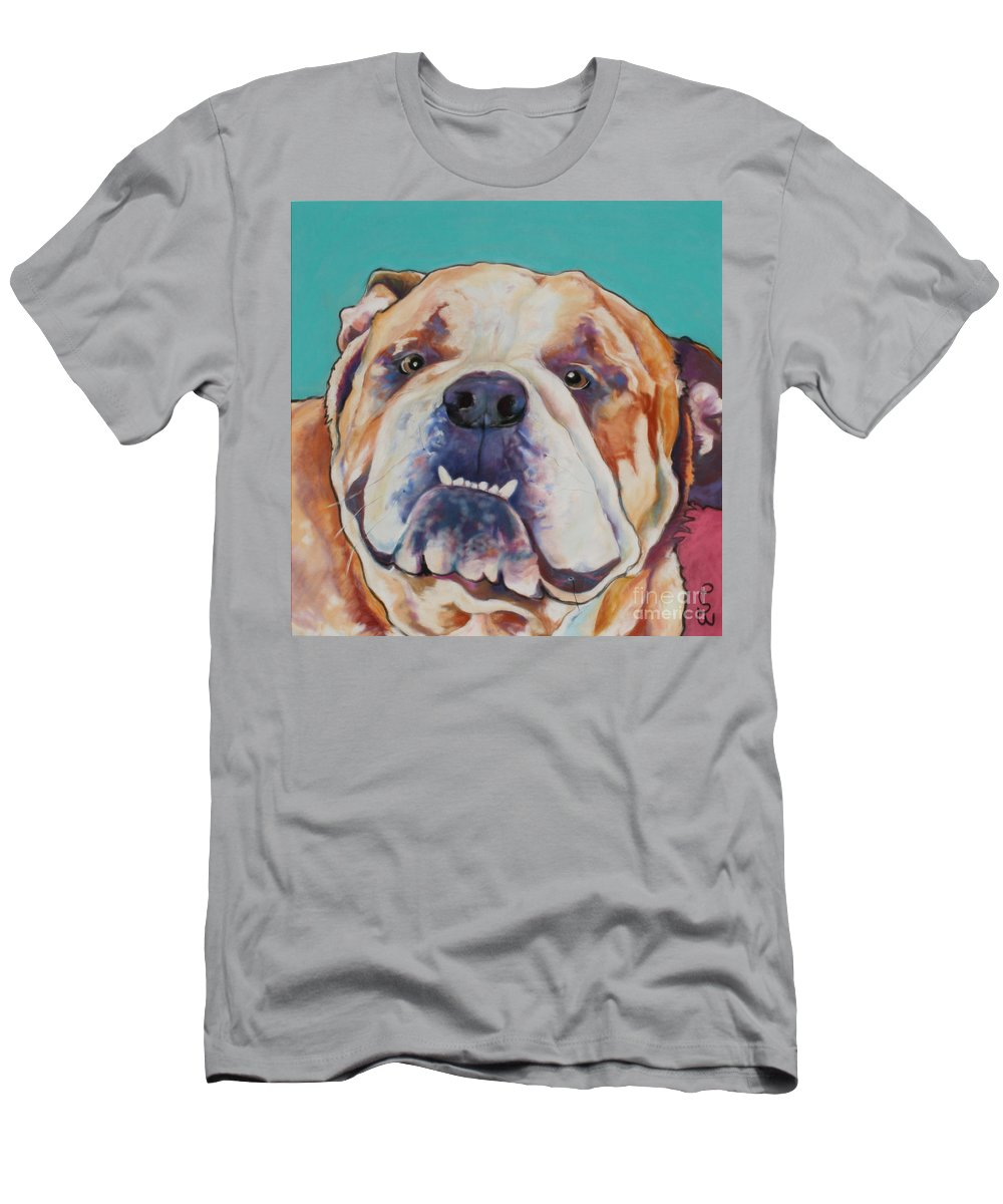 Pat Saunders-white Pet Portraits T-Shirt featuring the painting Game Face  by Pat Saunders-White
