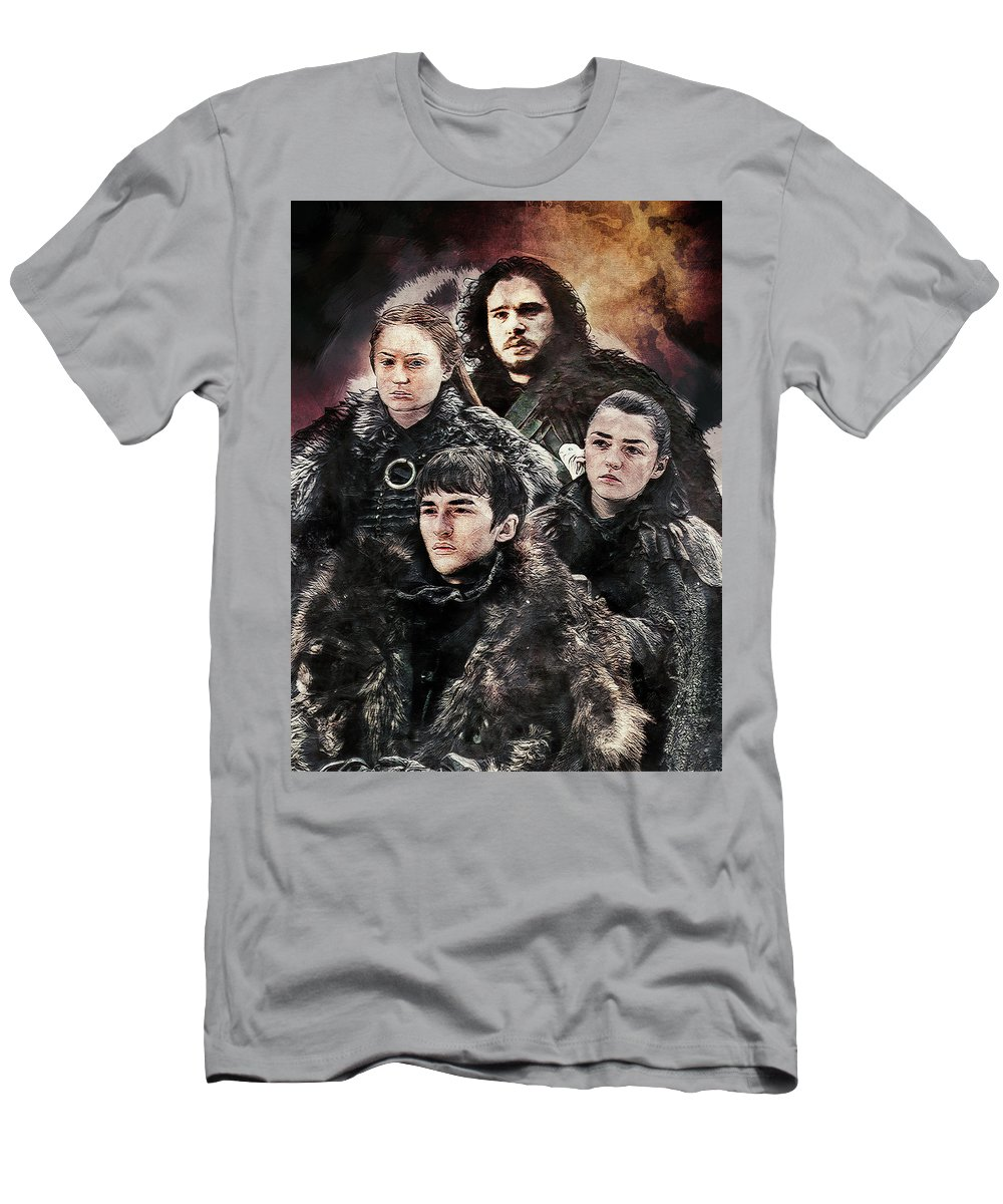 Game Of Thrones Men's T-Shirt (Athletic Fit) featuring the digital art Game Of Thrones.the Last Of Stark. by Nadezhda Zhuravleva