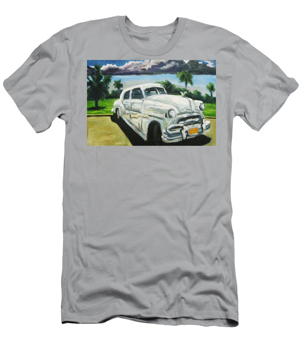 Old Cars Men's T-Shirt (Athletic Fit) featuring the painting Gangsters On Vacation by John Malone