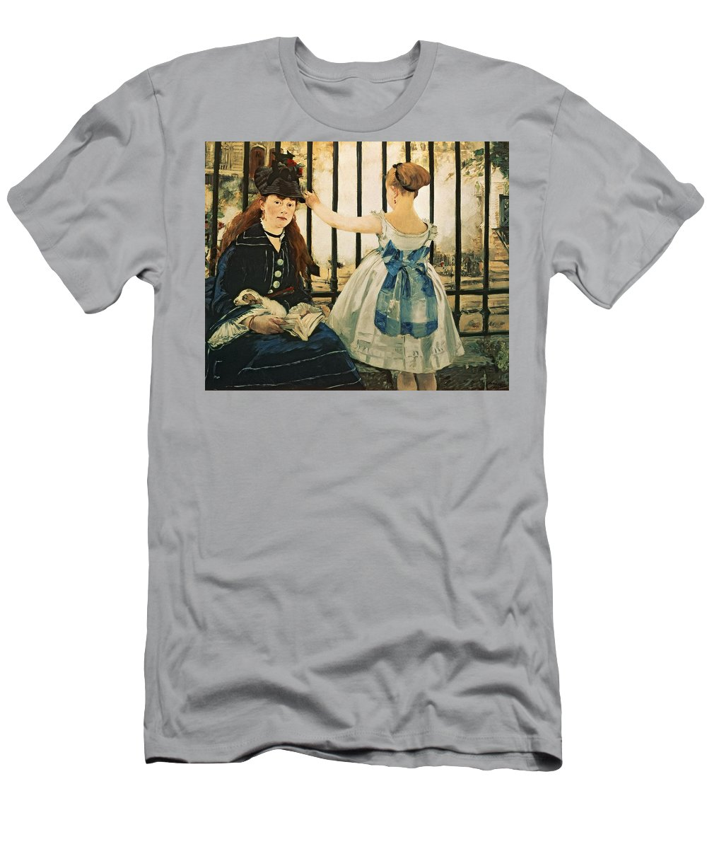 Railings Men's T-Shirt (Athletic Fit) featuring the painting Gare St Lazare by Edouard Manet