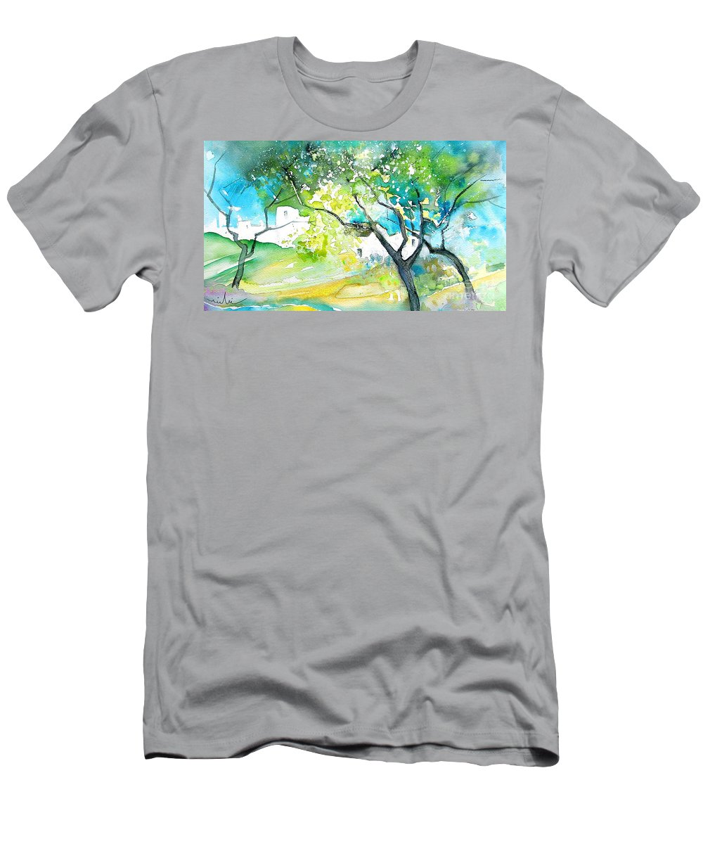 Spain Painting Water Colour Sketch Travel Gatova Men's T-Shirt (Athletic Fit) featuring the painting Gatova Spain 04 by Miki De Goodaboom