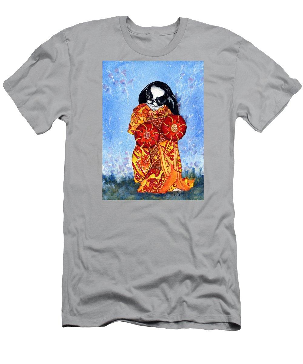 Japanese Chin T-Shirt featuring the painting Geisha Chin by Kathleen Sepulveda