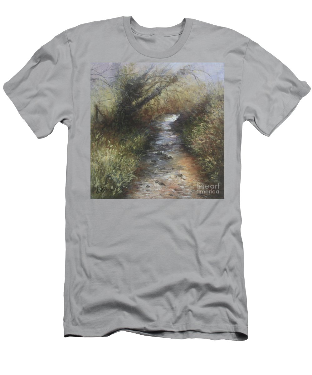 Stream Men's T-Shirt (Athletic Fit) featuring the painting Gently Flowing by Valerie Travers