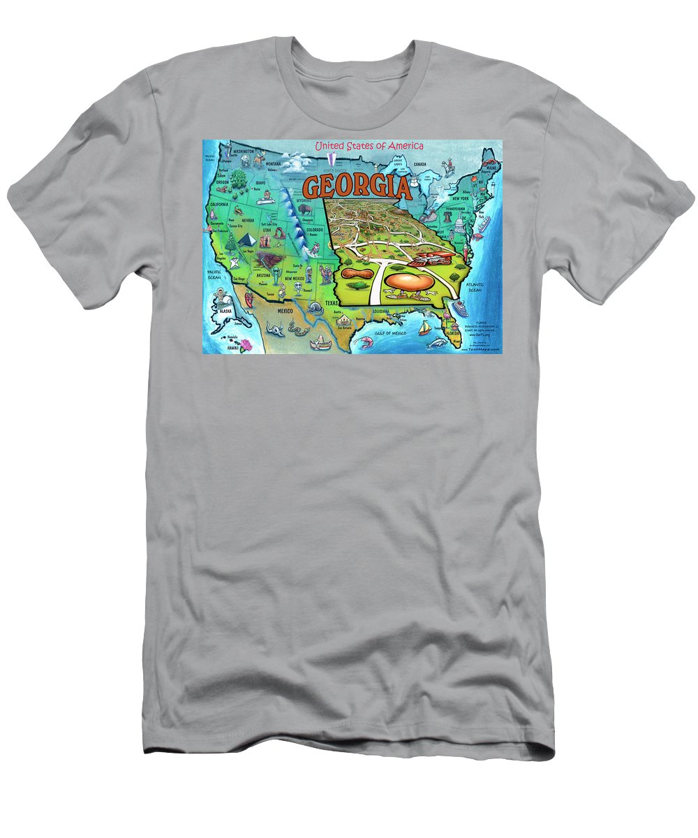 Georgia Men's T-Shirt (Athletic Fit) featuring the painting Georgia Usa Cartoon Map by Kevin Middleton