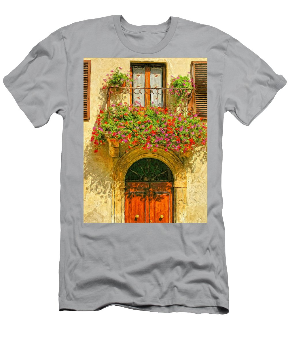 Italy Men's T-Shirt (Athletic Fit) featuring the painting Gerani Coloriti by Dominic Piperata