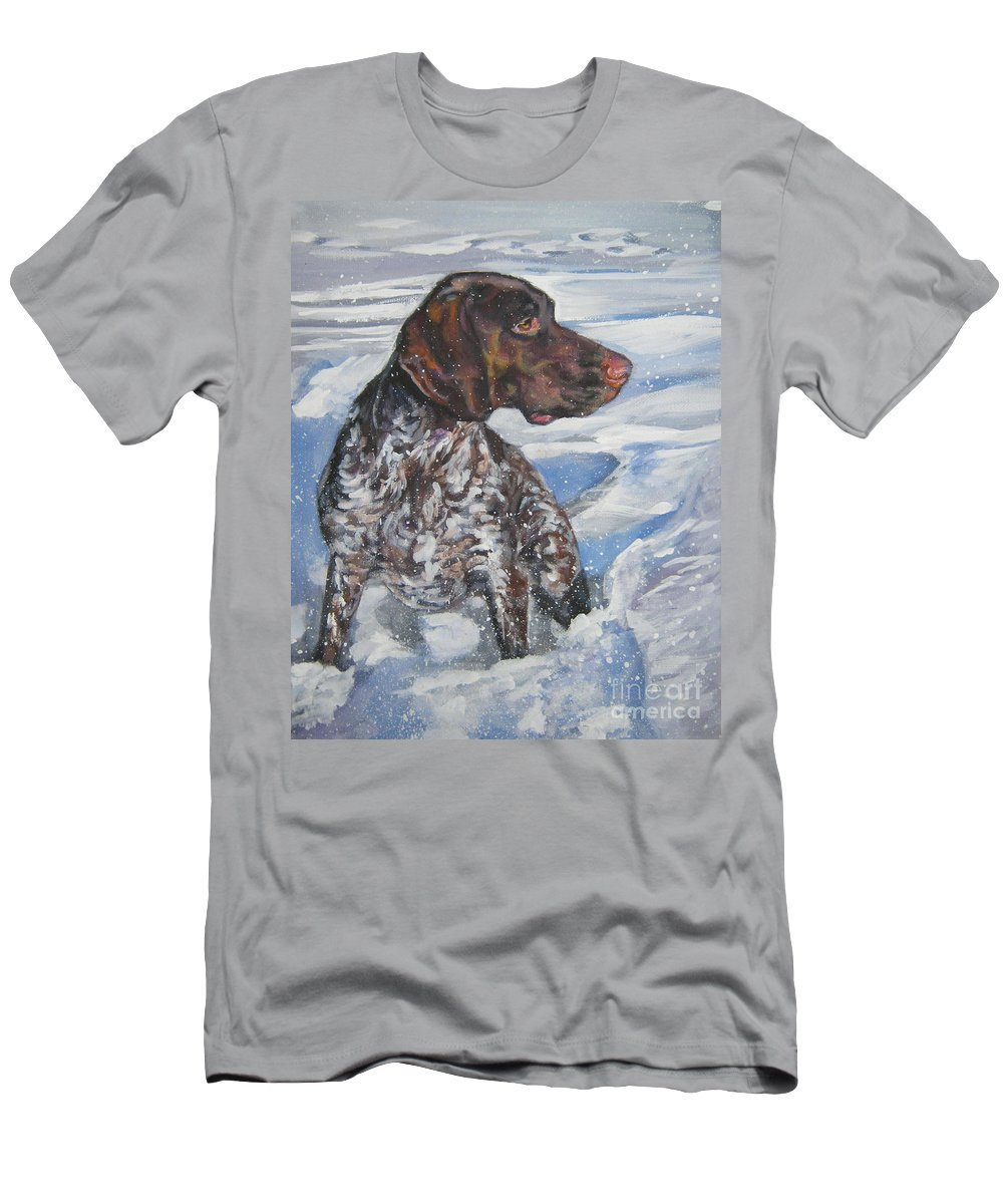 Dog Men's T-Shirt (Athletic Fit) featuring the painting German Shorthaired Pointer In The Snowdrift by Lee Ann Shepard