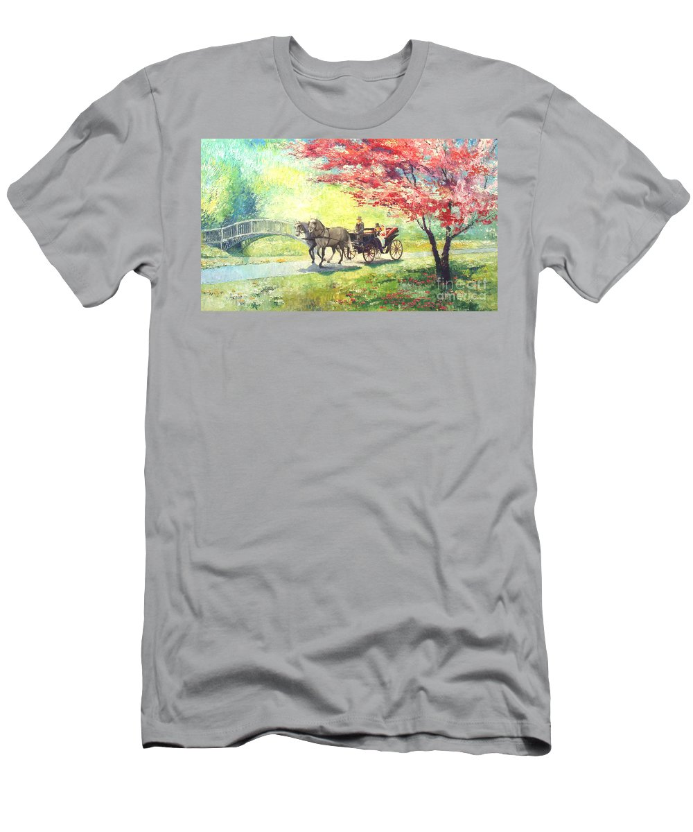 Allee Men's T-Shirt (Athletic Fit) featuring the painting Germany Baden-baden Lichtentaler Allee Spring 2 by Yuriy Shevchuk