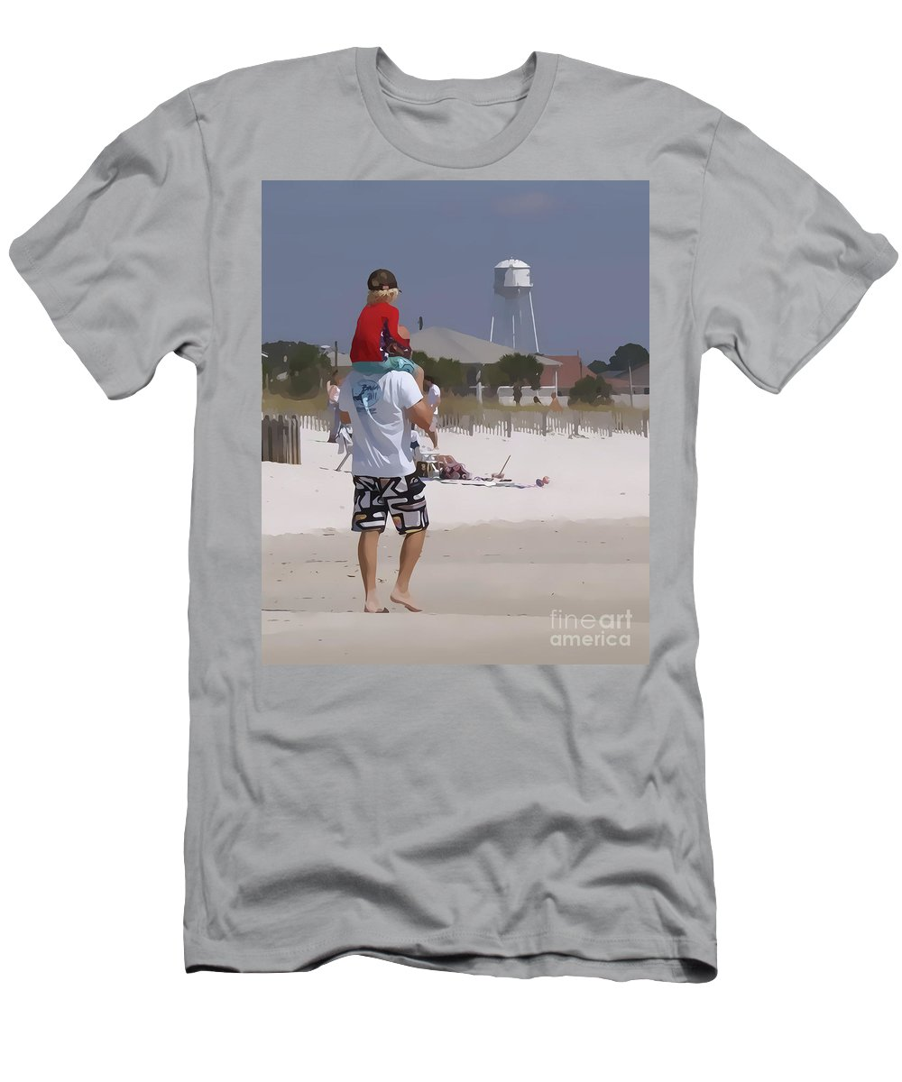 Beach Men's T-Shirt (Athletic Fit) featuring the photograph Getting A Lift by Susan Cliett