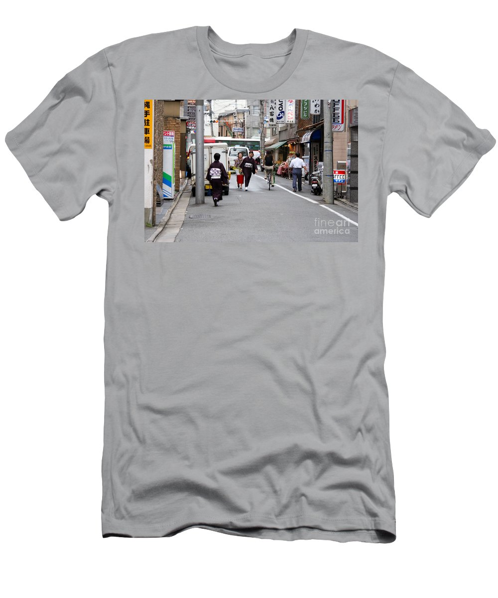 Kyoto Men's T-Shirt (Athletic Fit) featuring the photograph Gion District Street Scene Kyoto Japan by Thomas Marchessault