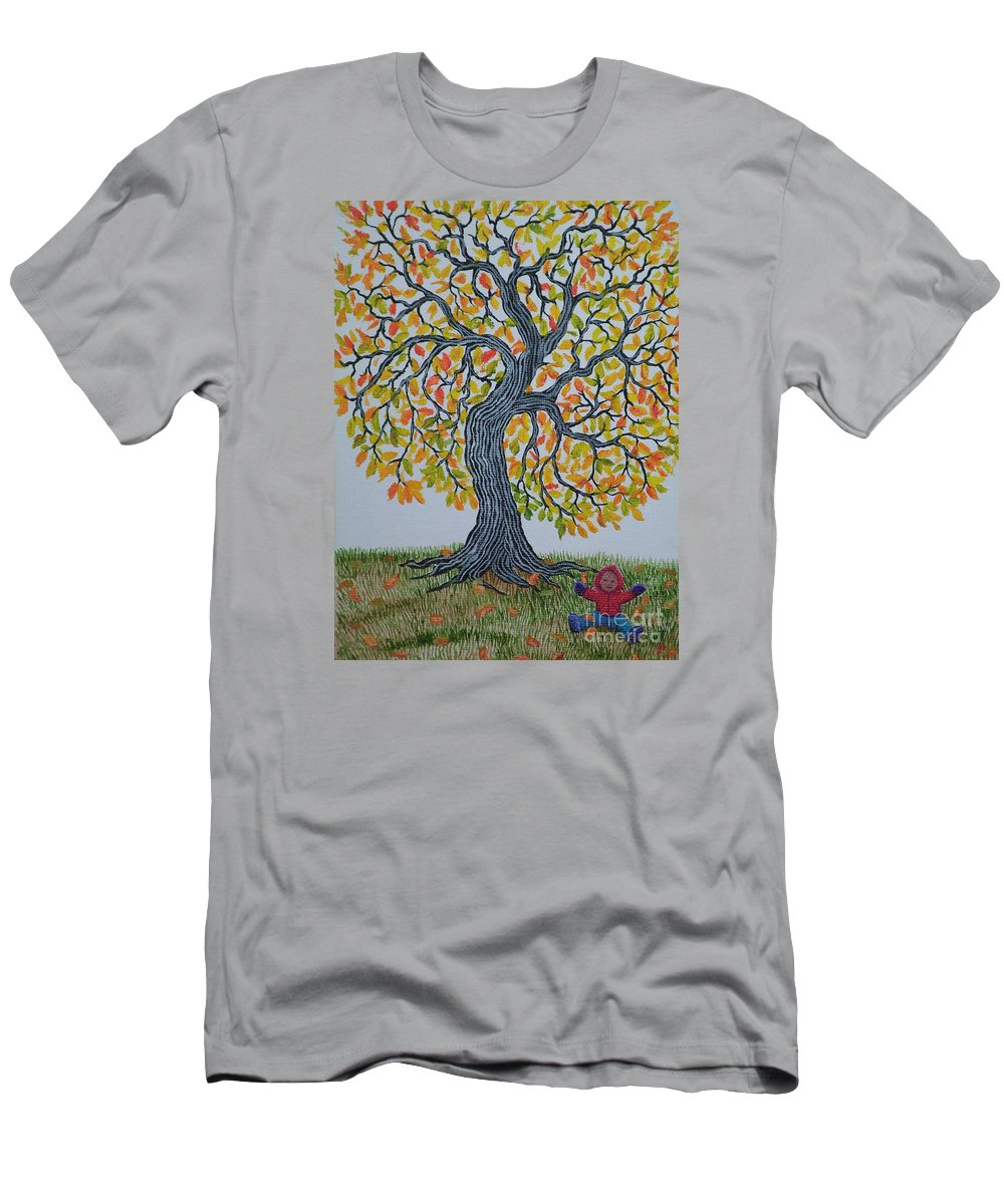 Girl Men's T-Shirt (Athletic Fit) featuring the painting Girl And Leafs by Nick Gustafson