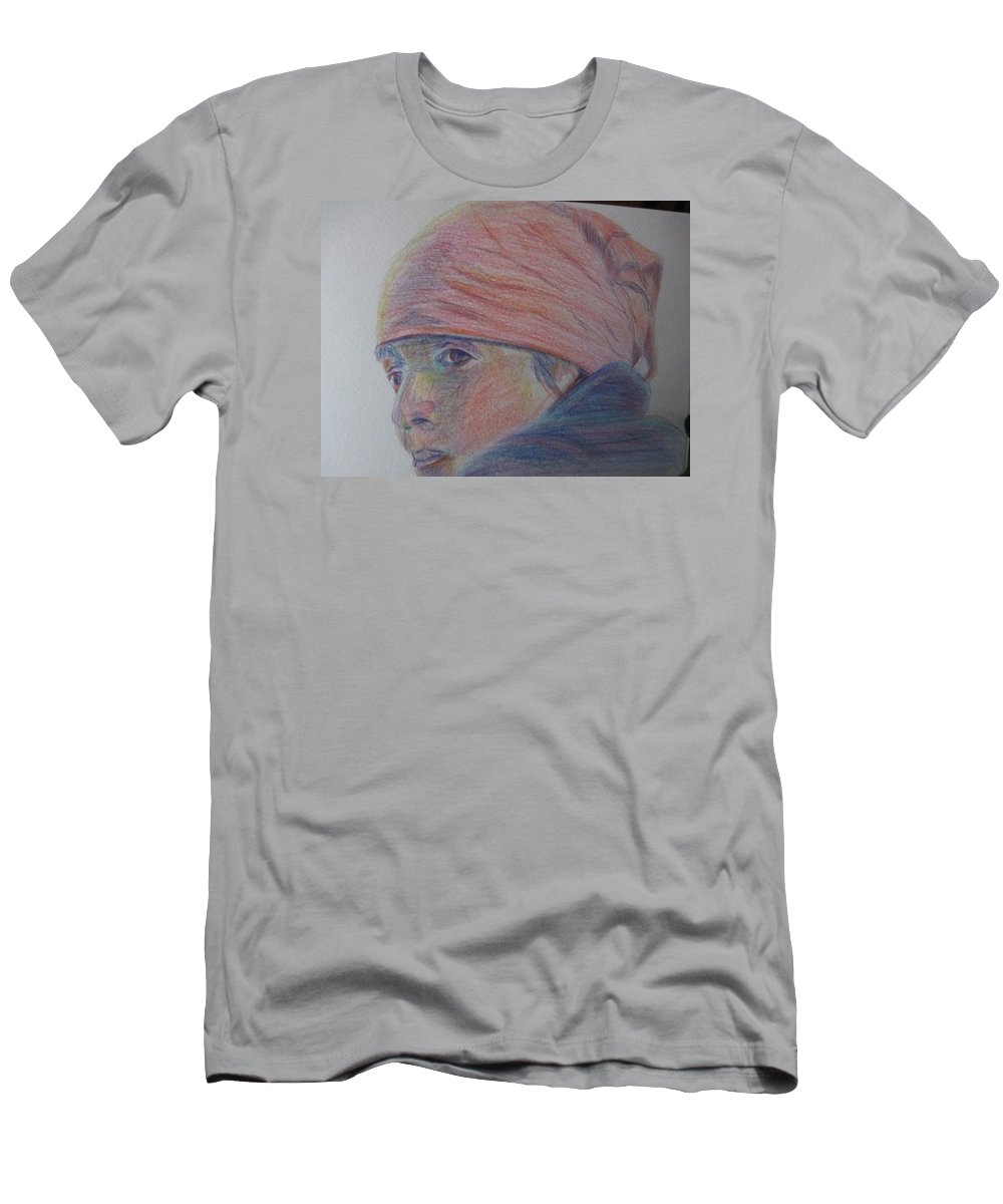 Colored Pencil Men's T-Shirt (Athletic Fit) featuring the painting Girl In A Bandana by Katherine Berlin