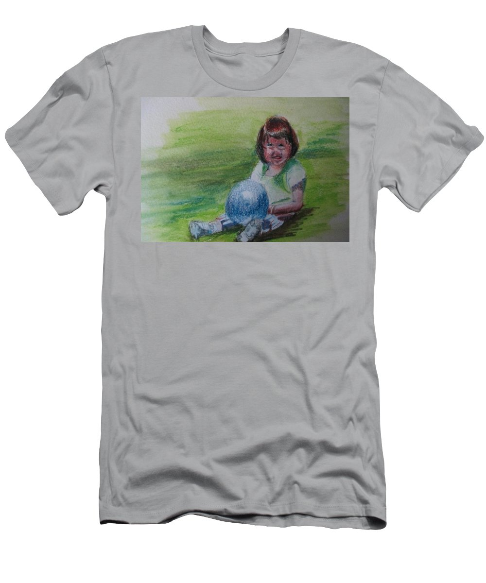 Child Men's T-Shirt (Athletic Fit) featuring the painting Girl With Ball by Katherine Berlin
