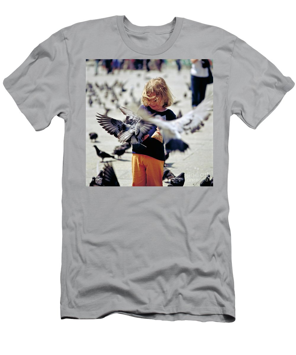 Children Men's T-Shirt (Athletic Fit) featuring the photograph Girl With Pigeons by Heiko Koehrer-Wagner