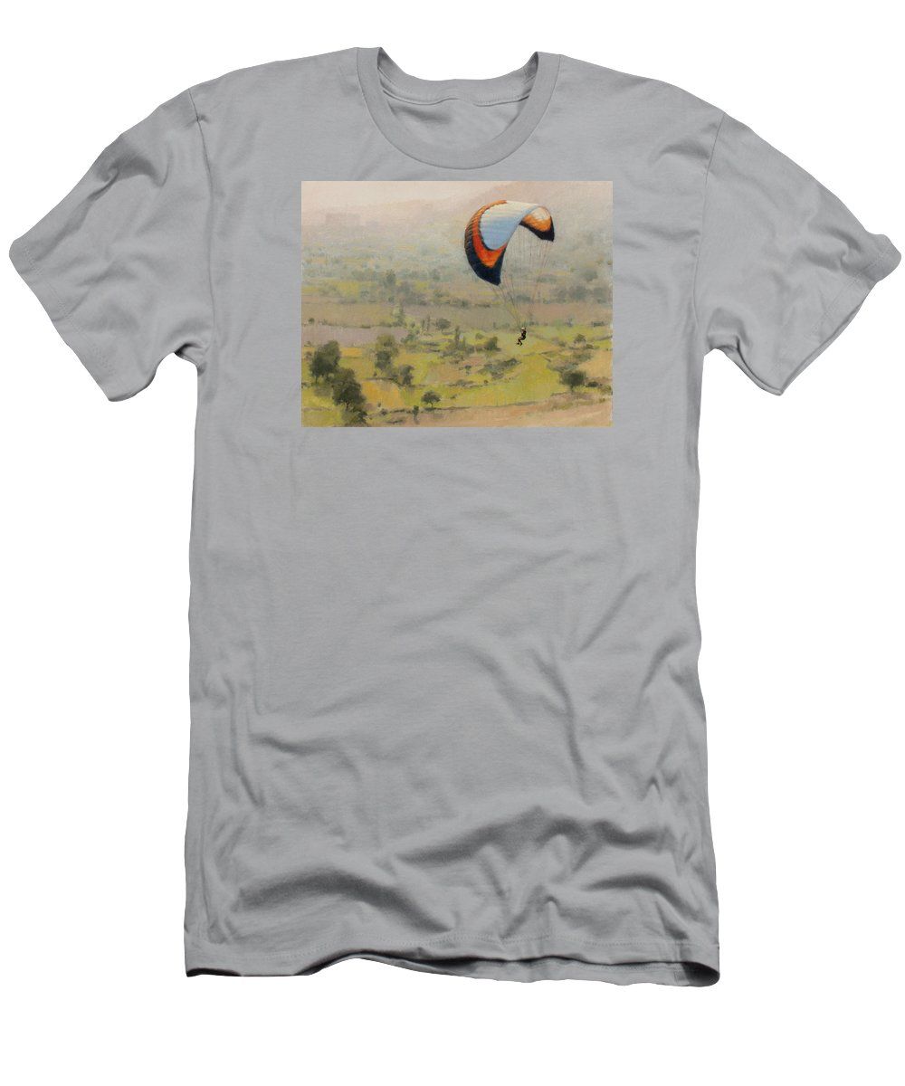 Portrait Men's T-Shirt (Athletic Fit) featuring the painting Glider 1 by Snehal Page