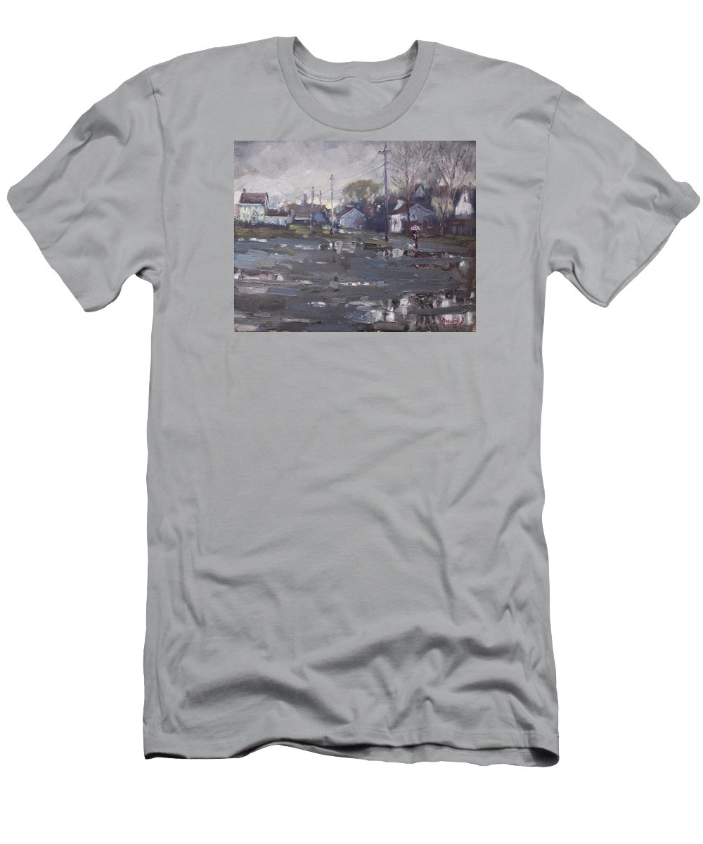 Gloomy Day Men's T-Shirt (Athletic Fit) featuring the painting Gloomy And Rainy Day By Hyde Park by Ylli Haruni