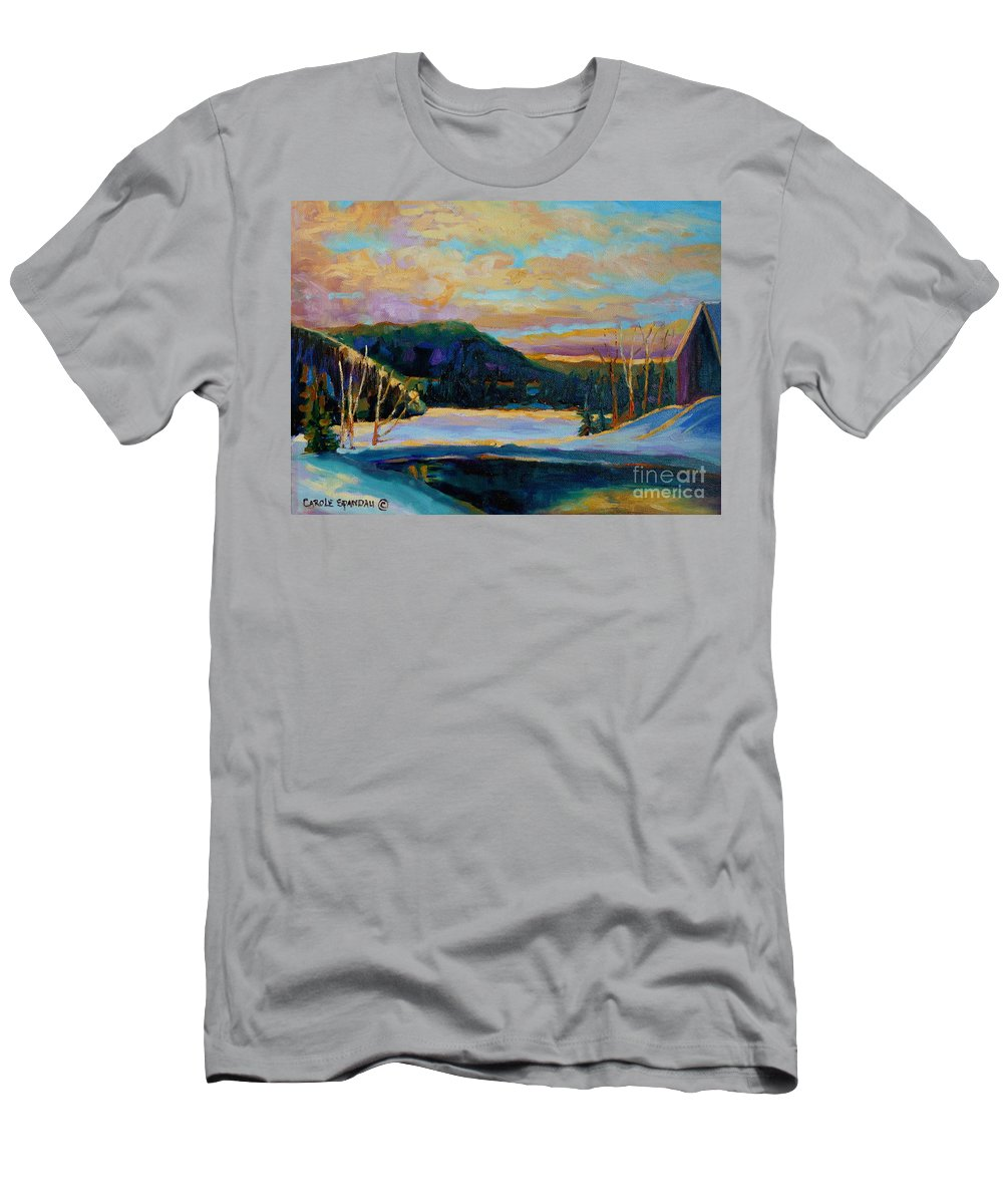 Vermont Men's T-Shirt (Athletic Fit) featuring the painting Glorious Winter Sunrise by Carole Spandau