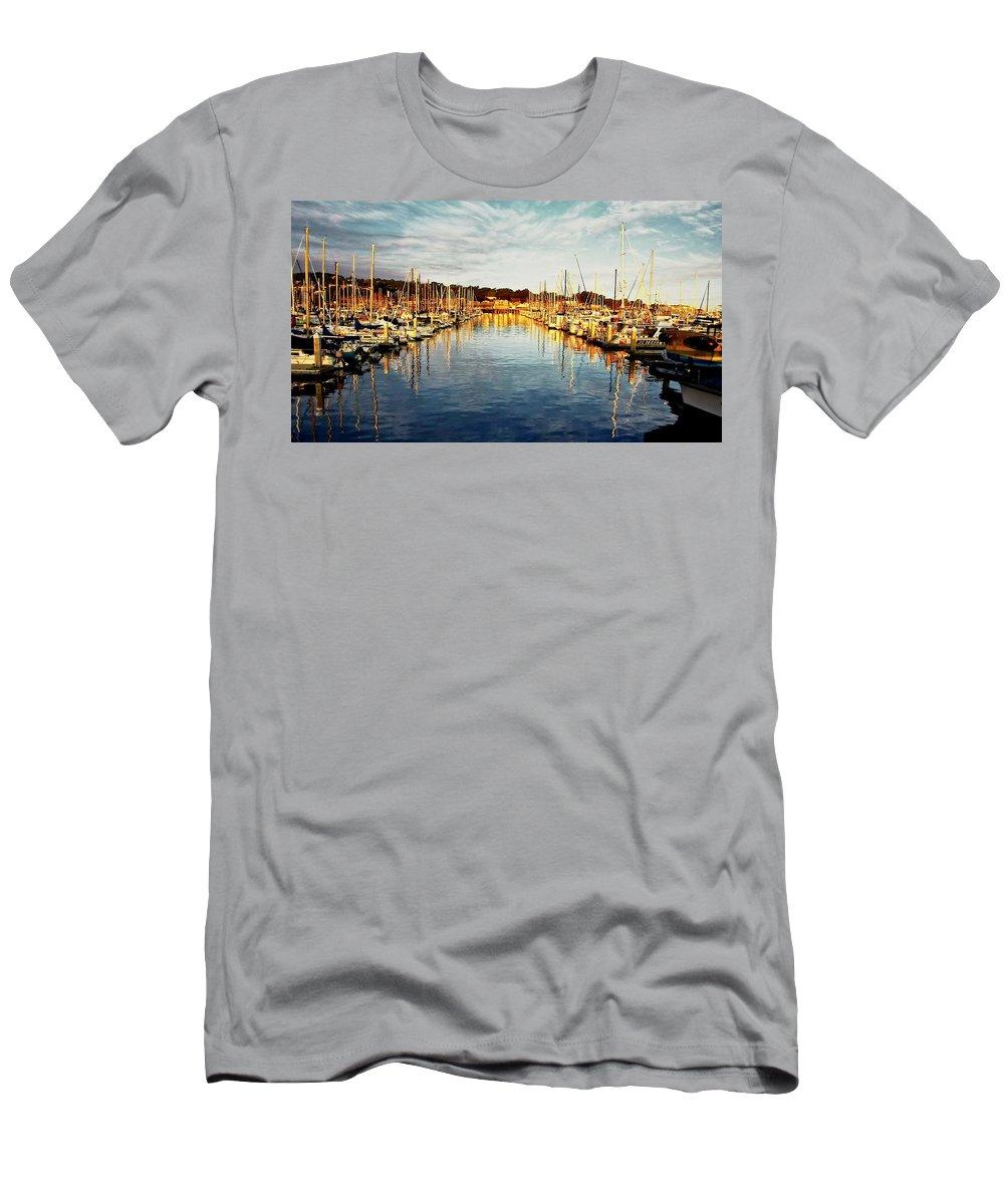 Sunrise T-Shirt featuring the photograph Gold Light, Monterey Marina by Zayne Diamond Photographic