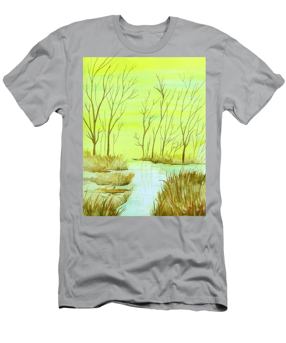 Watercolor Men's T-Shirt (Athletic Fit) featuring the painting Golden Fall Day by Brenda Owen