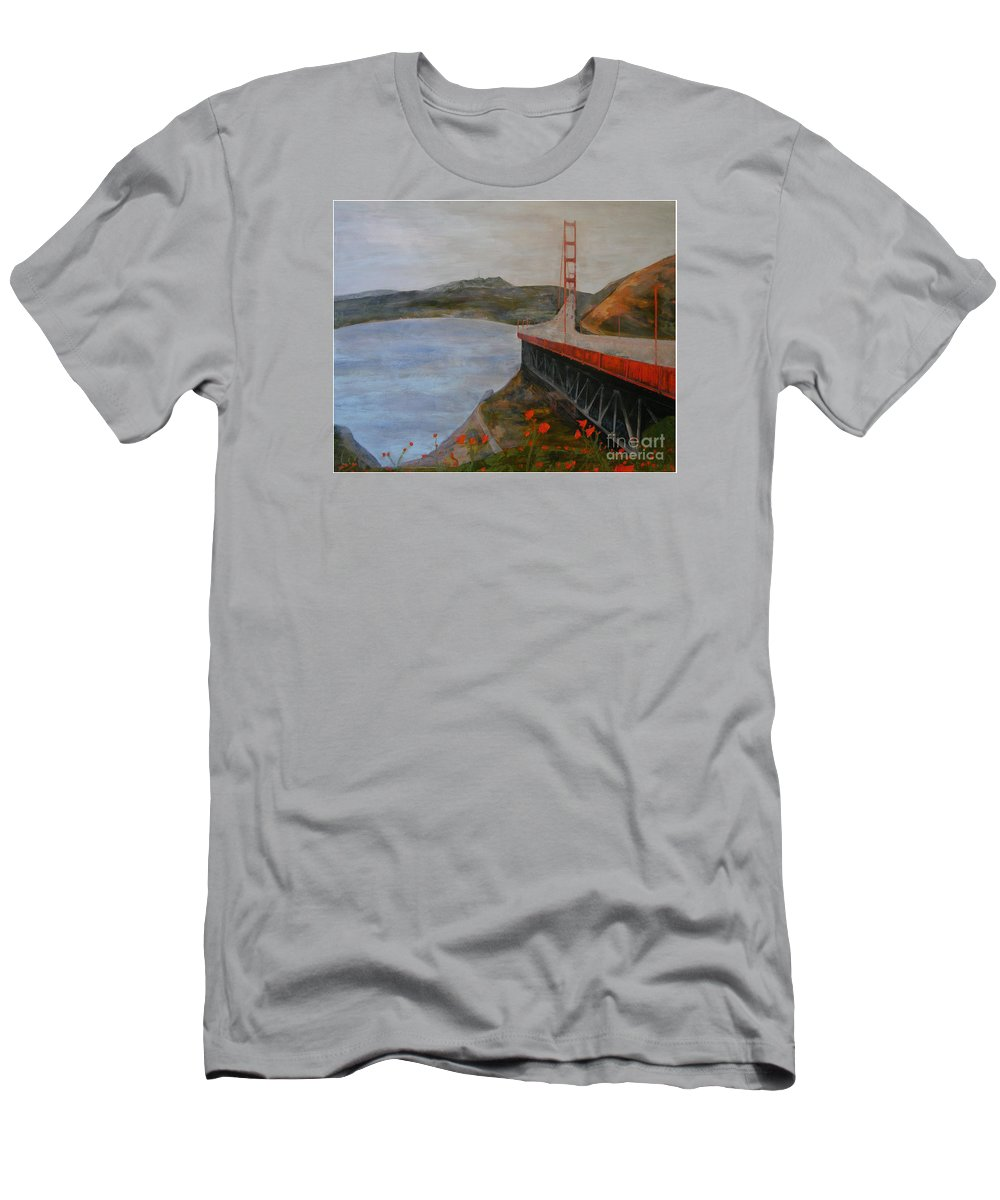 Golden Gate Bridge Men's T-Shirt (Athletic Fit) featuring the painting Golden Gate Bridge by Ellen Beauregard