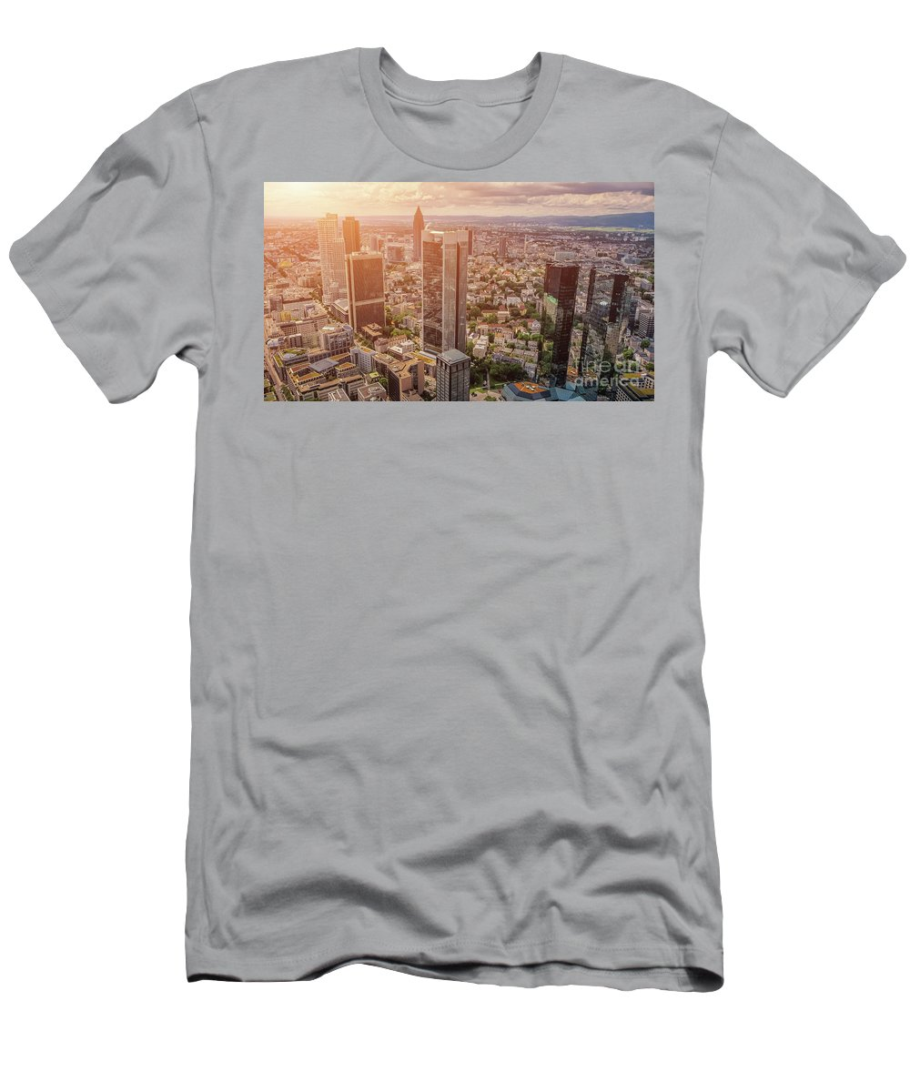 Frankfurt Am Main Men's T-Shirt (Athletic Fit) featuring the photograph Golden Skyscrapers Of Frankfurt by JR Photography