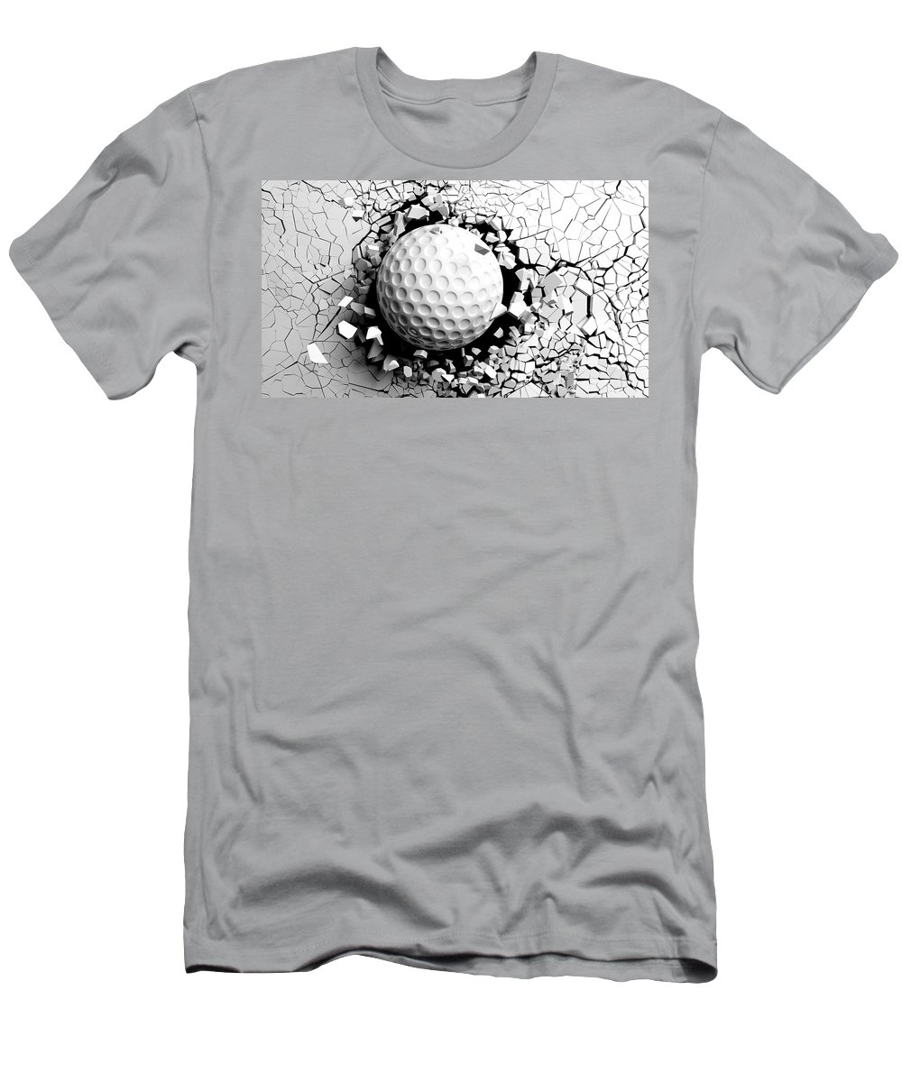 Golf Ball Men's T-Shirt (Athletic Fit) featuring the digital art Golf Ball Breaking Forcibly Through A White Wall. 3d Illustration. by George Tsartsianidis