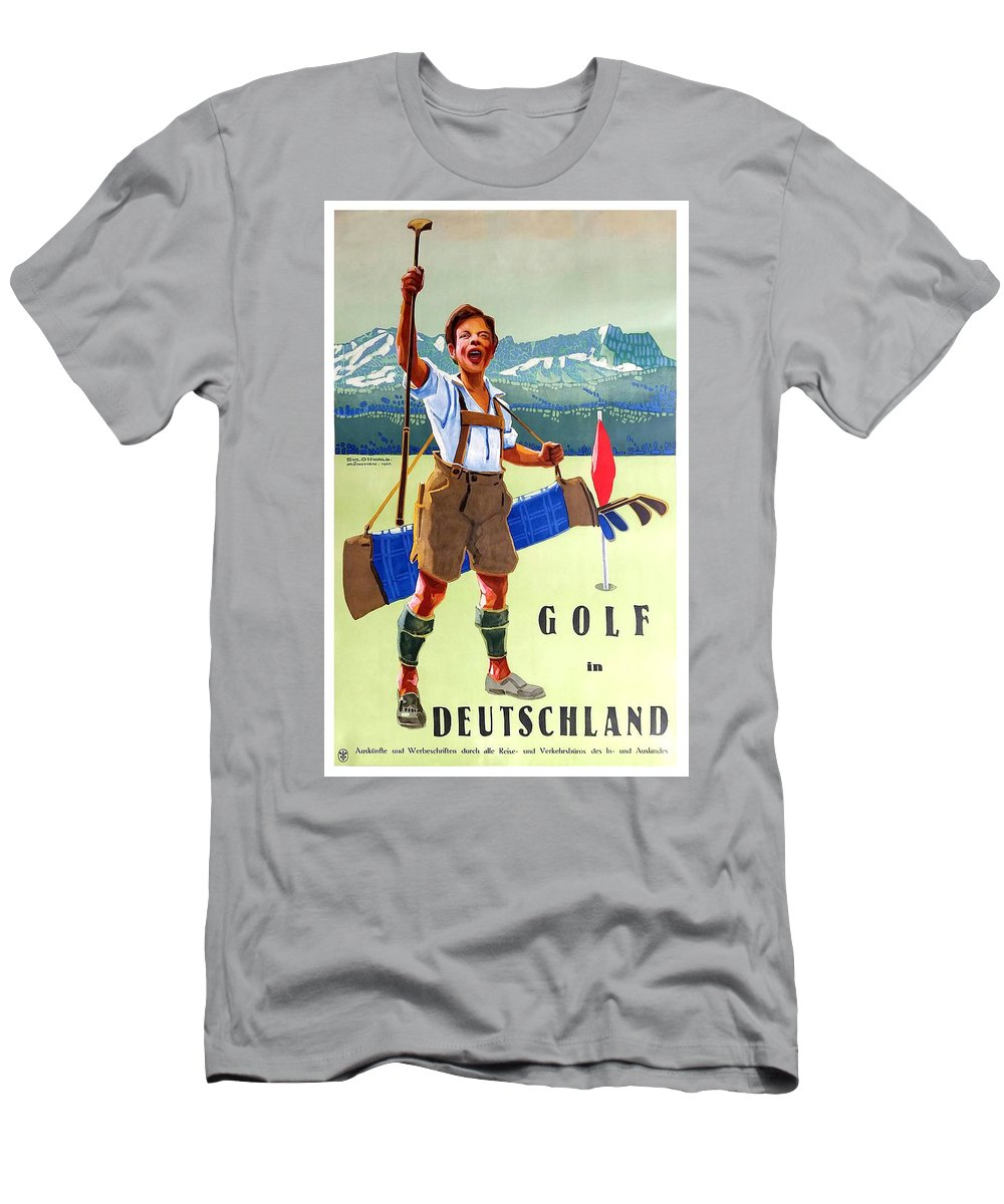 Germany Men's T-Shirt (Athletic Fit) featuring the painting Golf In Deutchland by Long Shot