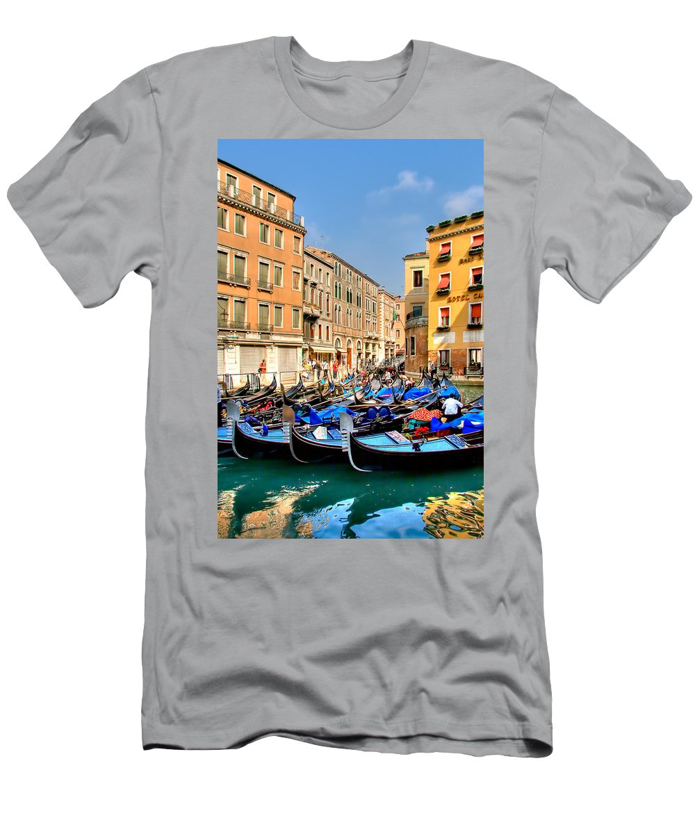 Italy Men's T-Shirt (Athletic Fit) featuring the photograph Gondolas In The Square by Peter Tellone