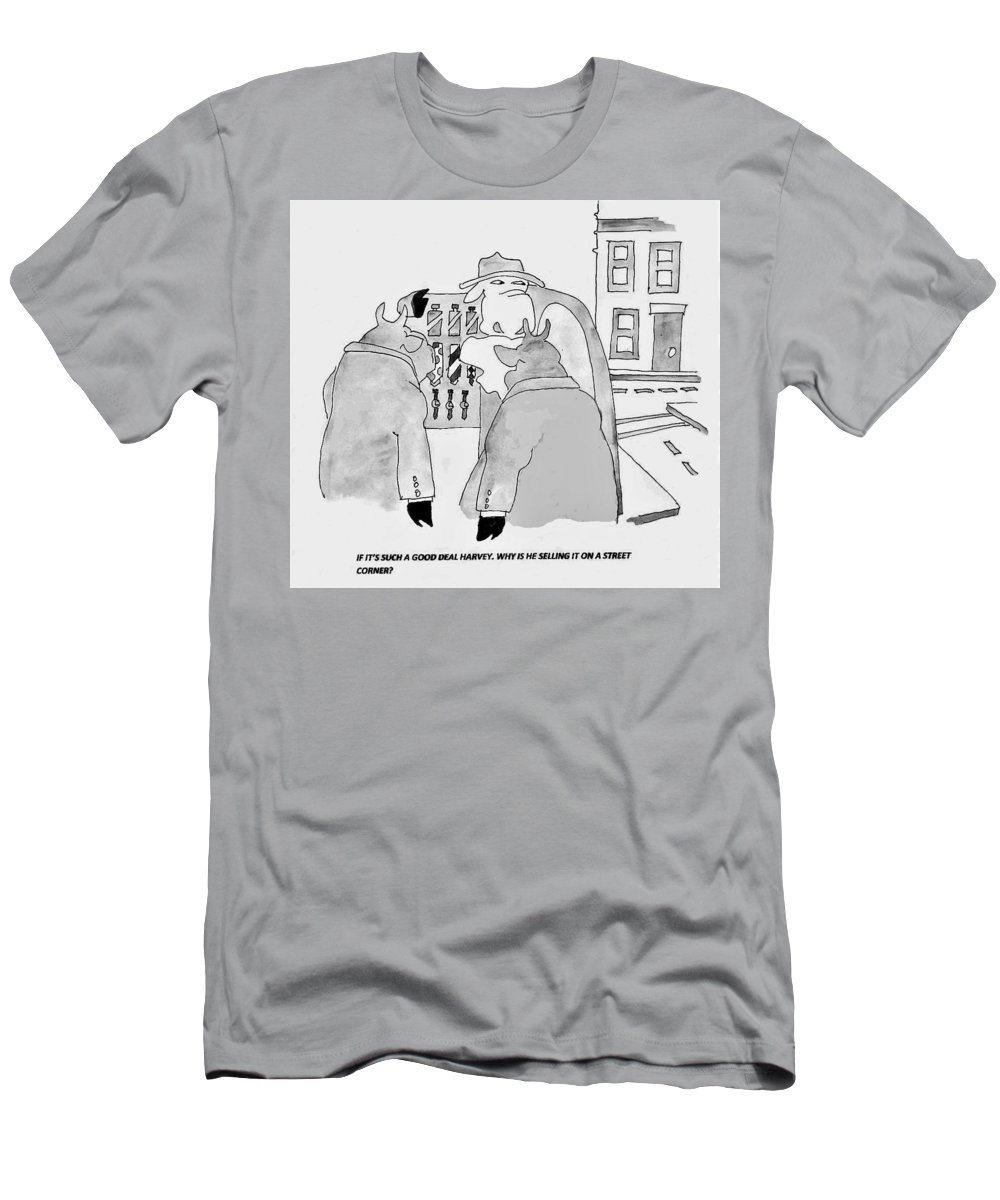 Buyer Beware Men's T-Shirt (Athletic Fit) featuring the painting Good Deals by Larry Campbell