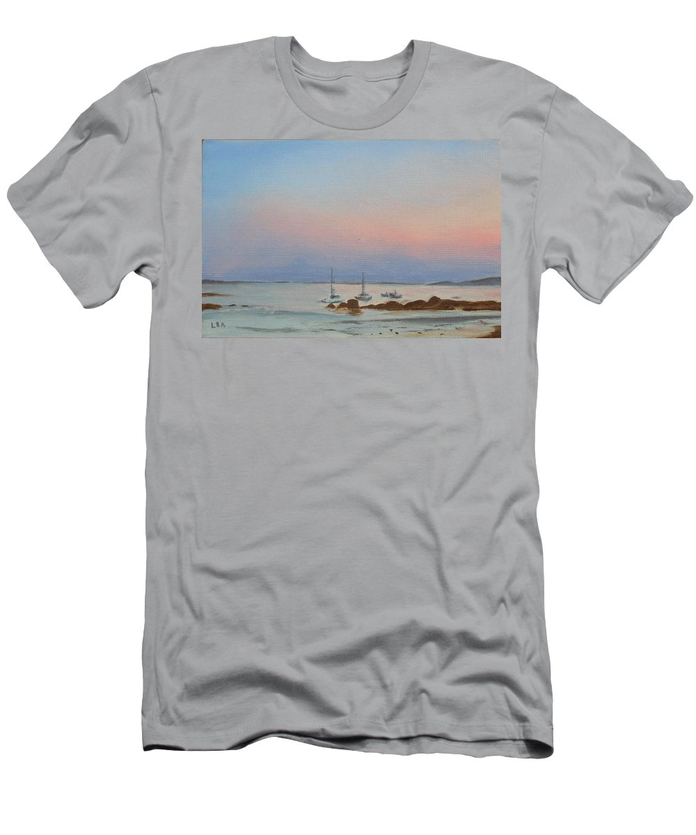 Seascape Men's T-Shirt (Athletic Fit) featuring the painting Good Harbor by Lea Novak