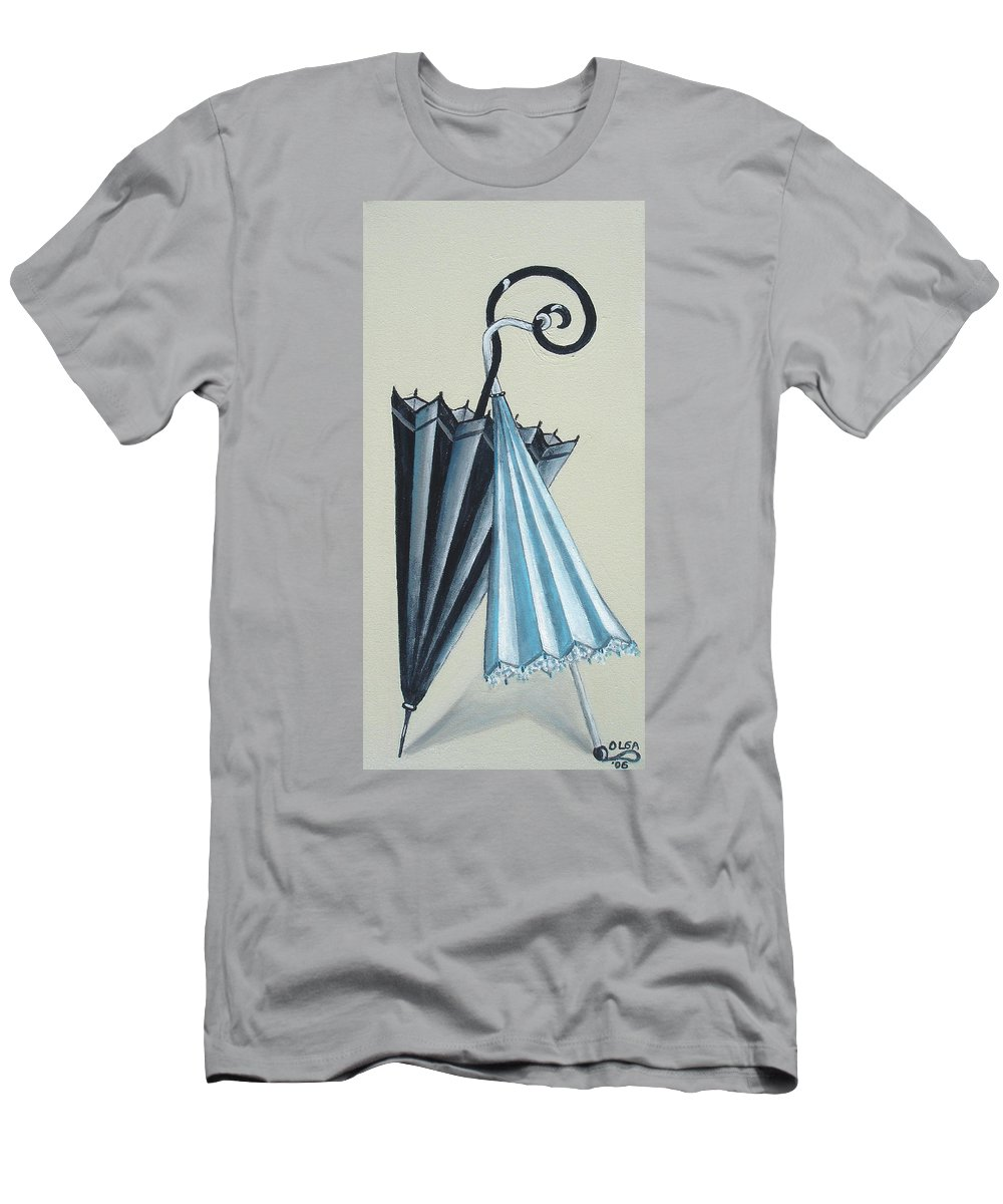 Umbrellas Men's T-Shirt (Athletic Fit) featuring the painting Goog Morning by Olga Alexeeva