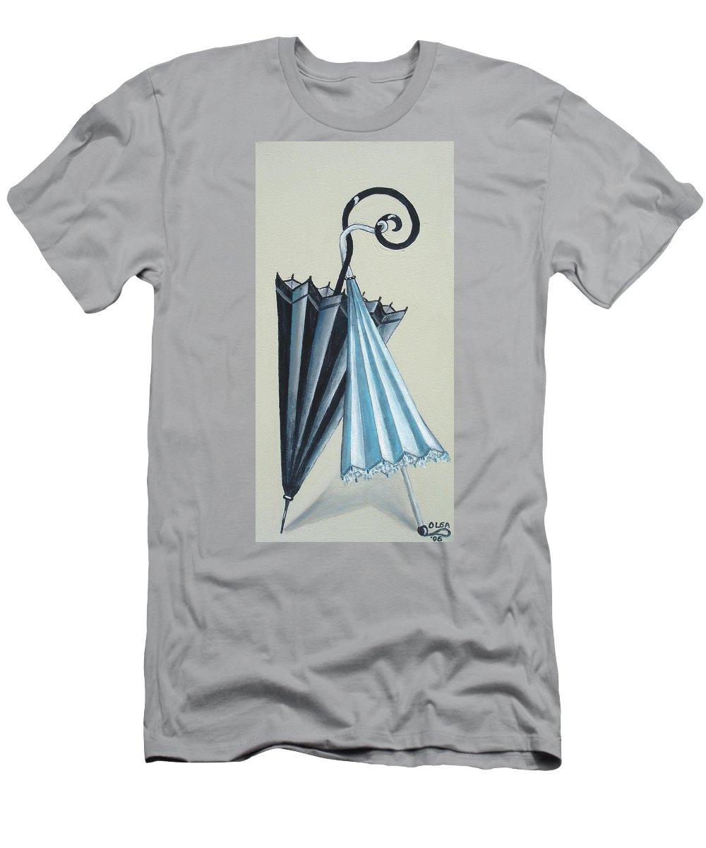 Umbrellas Men's T-Shirt (Athletic Fit) featuring the painting Goog Morning by Olga Alexeeva