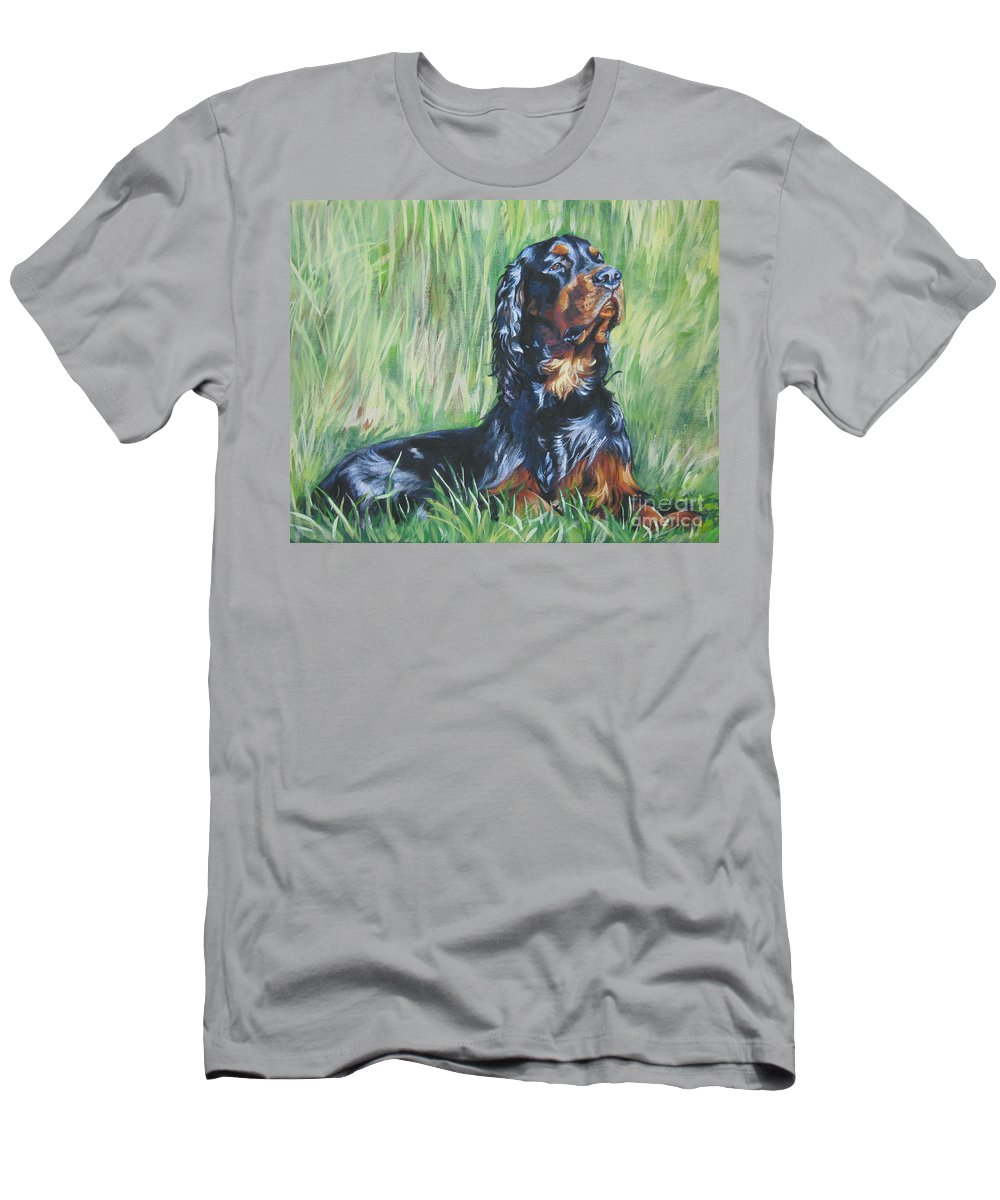 Dog Men's T-Shirt (Athletic Fit) featuring the painting Gordon Setter In The Grass by Lee Ann Shepard