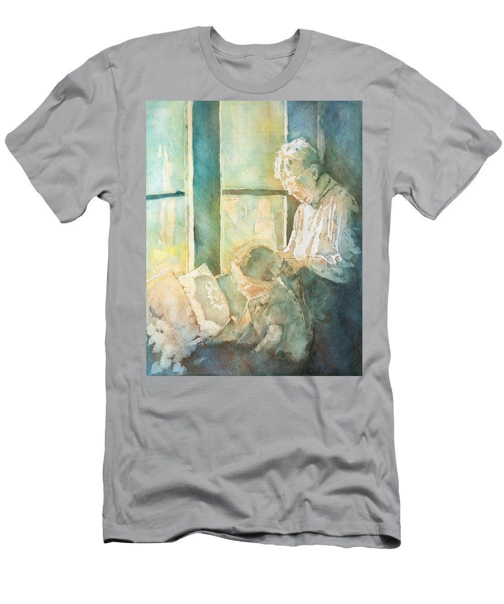 Family Men's T-Shirt (Athletic Fit) featuring the painting Gramdma Braids by Jenny Armitage
