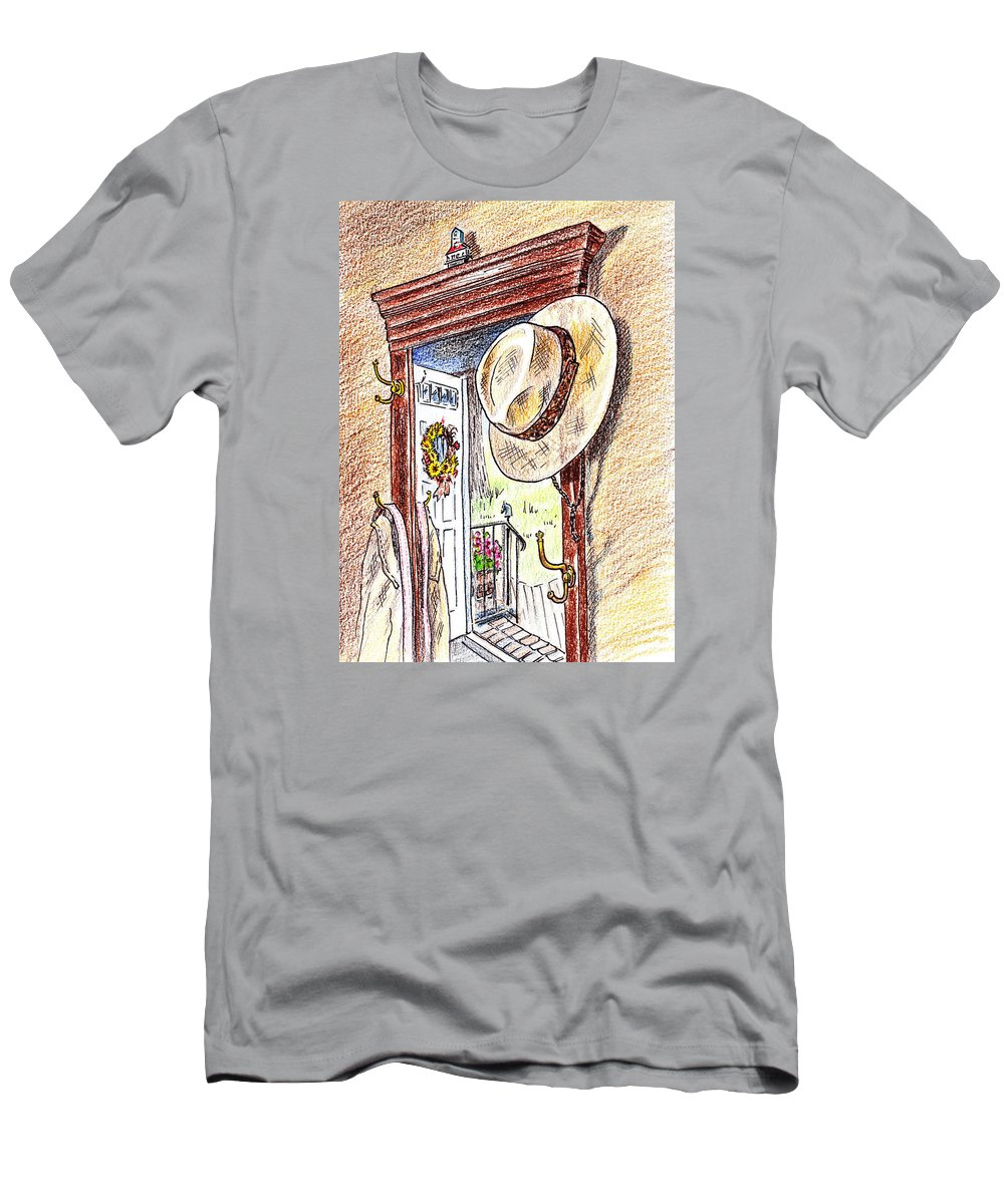Vintage Men's T-Shirt (Athletic Fit) featuring the painting Grandpa Is Home by Irina Sztukowski