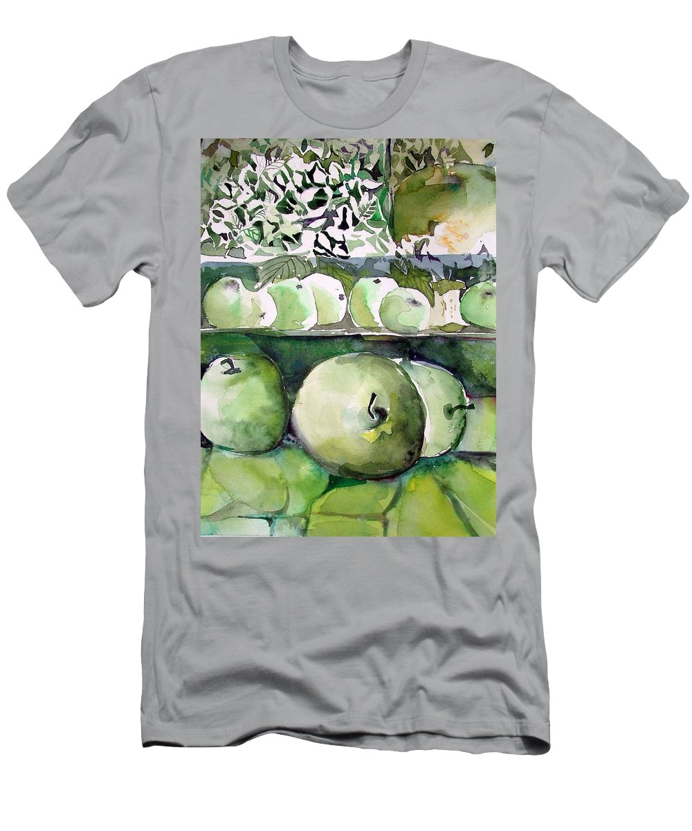 Apple Men's T-Shirt (Athletic Fit) featuring the painting Granny Smith Apples by Mindy Newman
