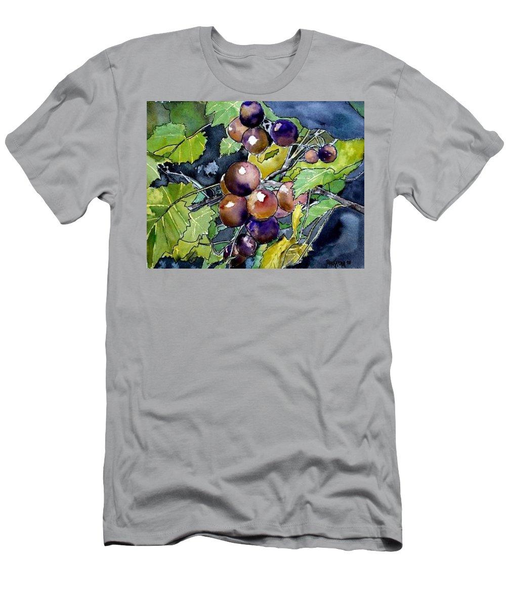 Grape Men's T-Shirt (Athletic Fit) featuring the painting Grape Vine Still Life by Derek Mccrea