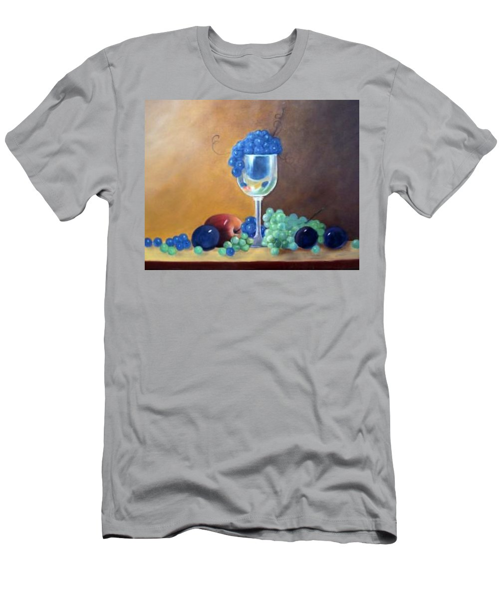 Wine Galsses With Grapes Men's T-Shirt (Athletic Fit) featuring the painting Grapes And Plums by Susan Dehlinger