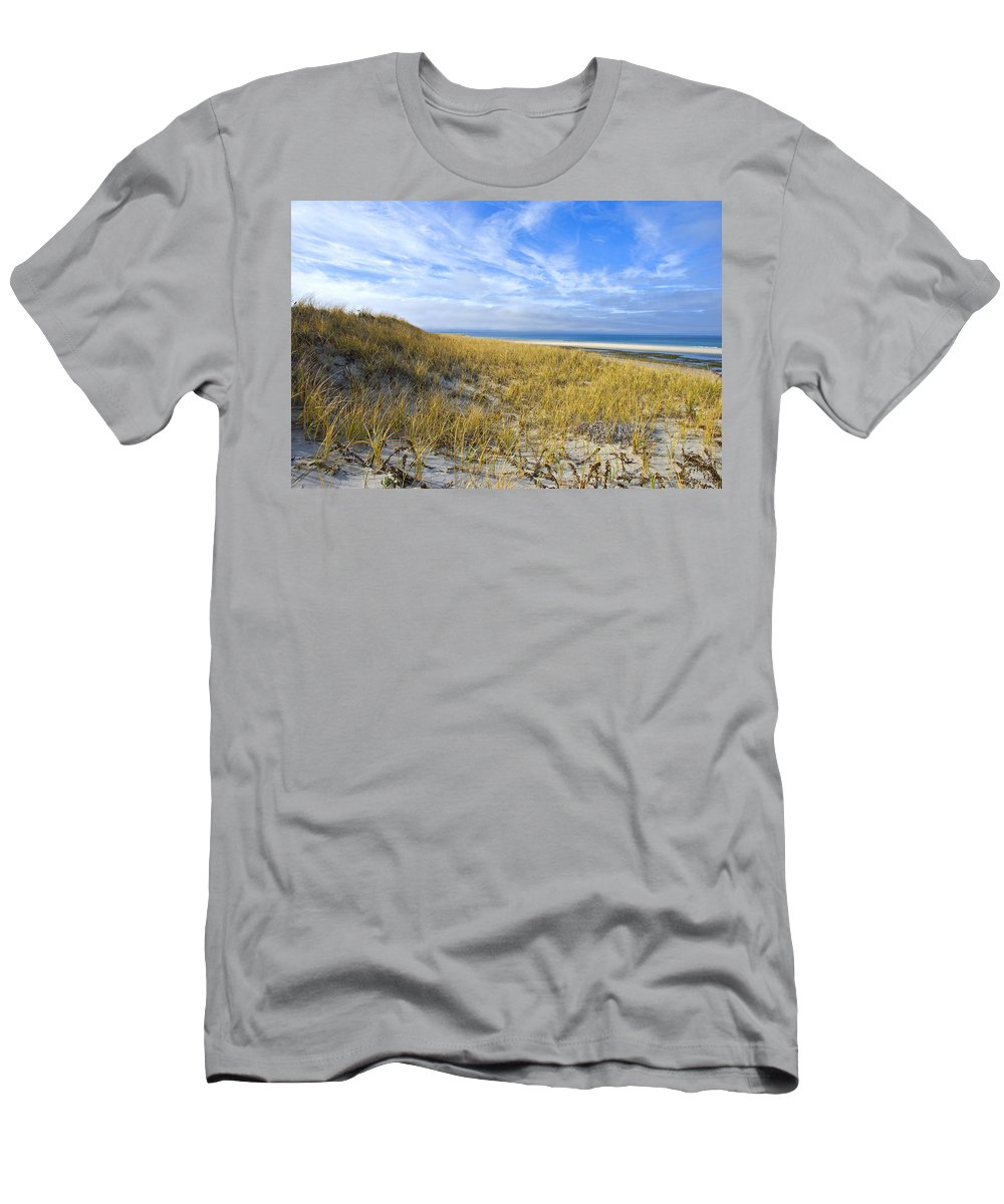 Dunes Men's T-Shirt (Athletic Fit) featuring the photograph Grassy Dunes by Charles Harden