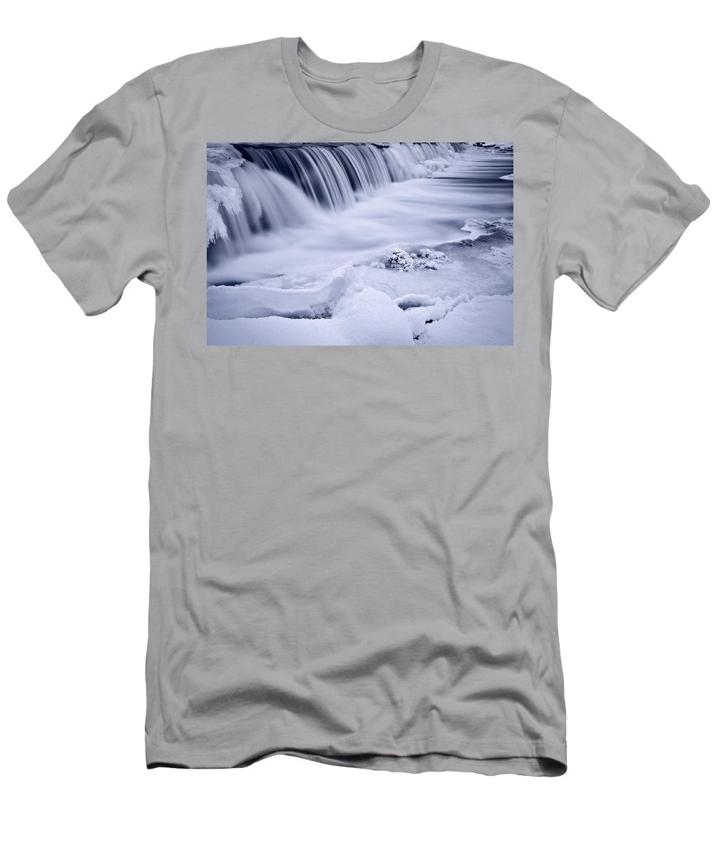 Graue Men's T-Shirt (Athletic Fit) featuring the photograph Graue Mills Falls by Steve Gadomski
