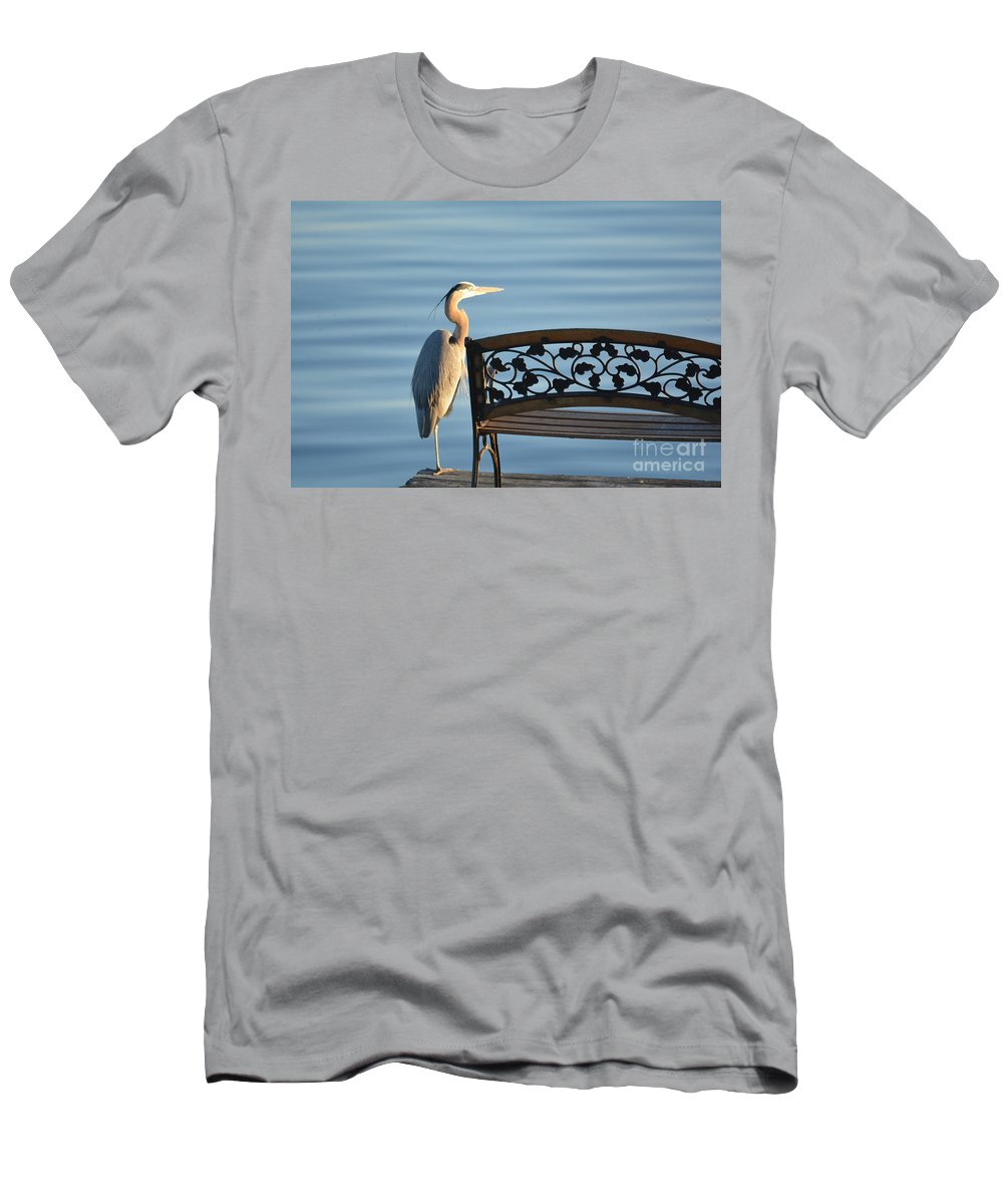 Lake Men's T-Shirt (Athletic Fit) featuring the photograph Great Blue Heron....resting My Leg by Barb Dalton