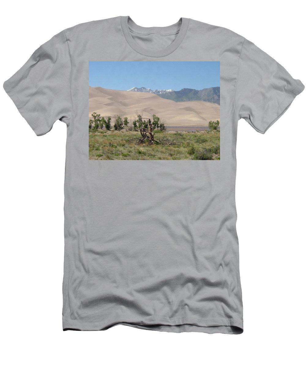 Great Dunes Photographs Canvas Prints Mountain Range Desert Landscape Colorado Men's T-Shirt (Athletic Fit) featuring the photograph Great Dunes Trifective Range by Joshua Bales