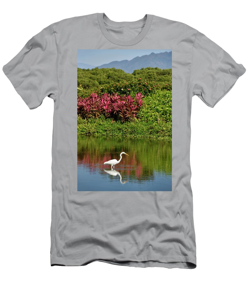 Great Men's T-Shirt (Athletic Fit) featuring the photograph Great White Egret Fishing In A Pond With Tropical Plants And Sie by Reimar Gaertner