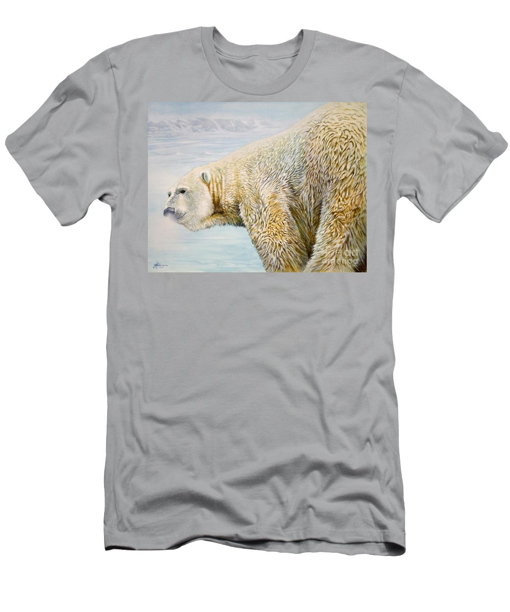 Bear Men's T-Shirt (Athletic Fit) featuring the painting Great White Hunter by Greg and Linda Halom
