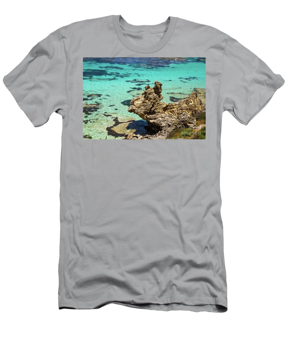 Wind Men's T-Shirt (Athletic Fit) featuring the photograph Green Blue Ocean Water And Rocks by Josephine Cleopahrt