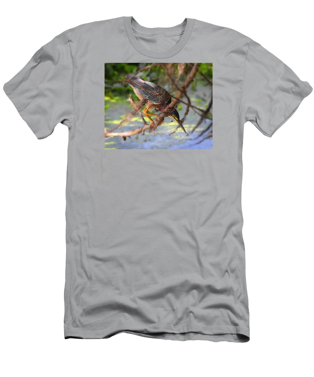 Green Heron Men's T-Shirt (Athletic Fit) featuring the photograph Green Heron Brazos Bend State Park by TN Fairey